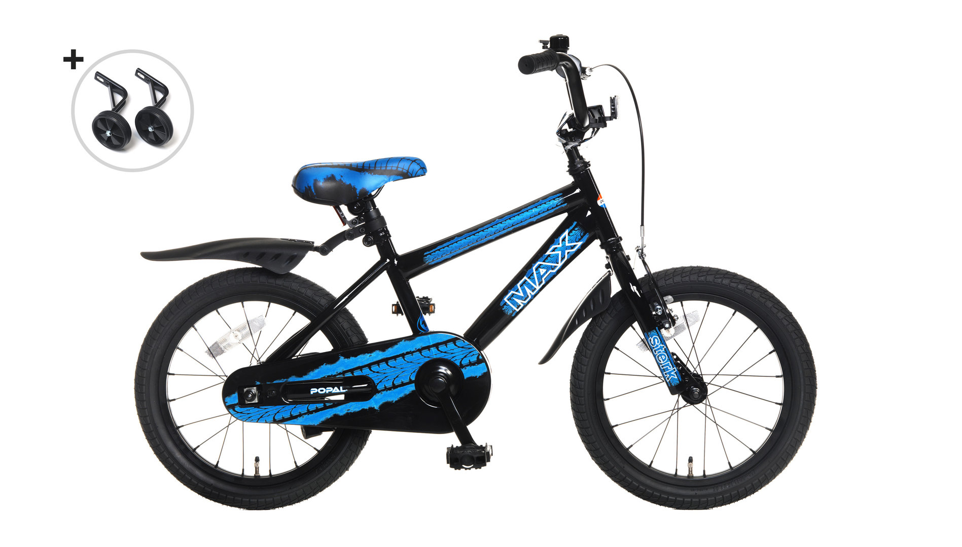 16 Zoll Kinderfahrrad Max schwarz-blau - fahrrad-Ass de