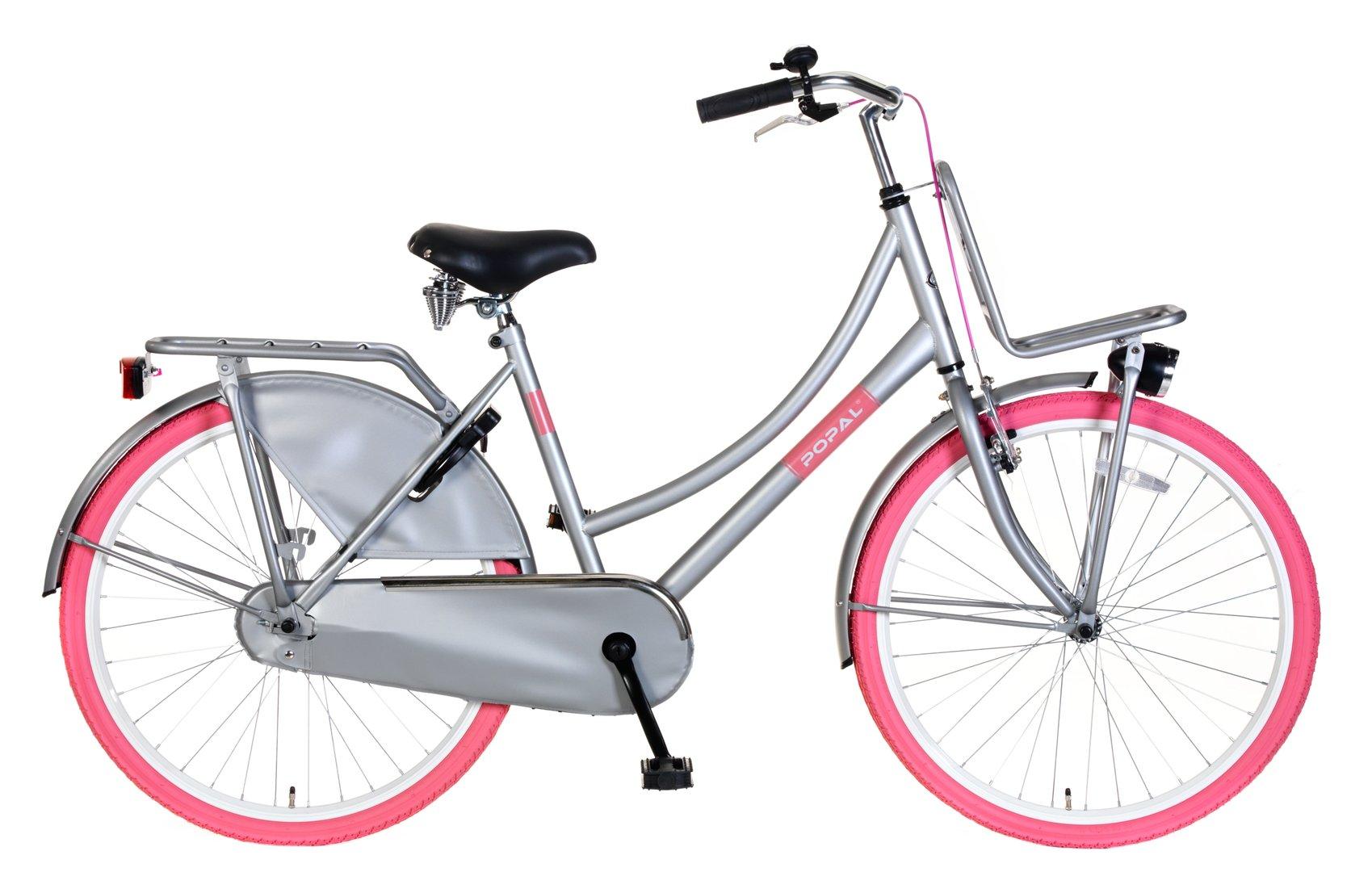 26 zoll hollandrad urban grau pink mit frontr ger. Black Bedroom Furniture Sets. Home Design Ideas