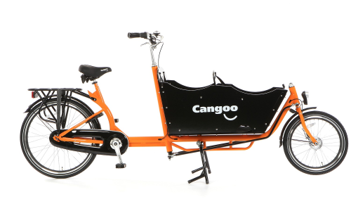Bakfiets 250 lang, Cangoo Downtown Plus 7 Gang 3 Kindersitzplätze, orange