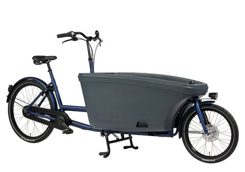 Komplett-Angebot E-Dolly Family 2-Rad bakfiets Jeans Blau inkl. Regendach Made in Holland