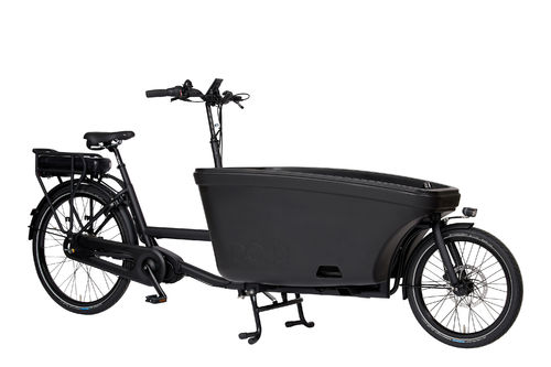 Komplett-Angebot E-Dolly Family Mittelmotor 2-Rad bakfiets Schwarz Matt - Made in Holland -Regendach