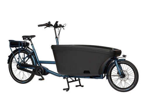 Komplett-Angebot E-Dolly Family Mittelmotor 2-Rad bakfiets Azur Blue -Made in Holland inkl Regendach