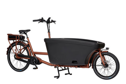Komplett-Angebot E-Dolly Family Mittelmotor 2-Rad bakfiets Blazing Copper Made in Holland -Regendach