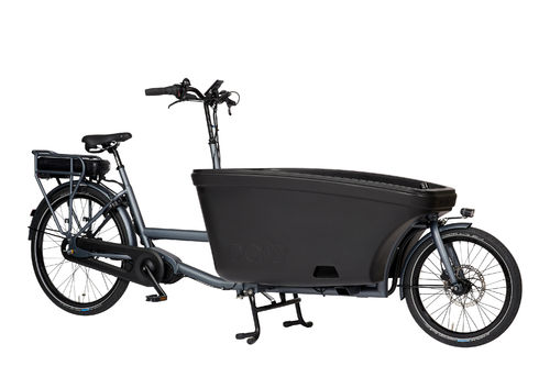 Komplett-Angebot E-Dolly Family Mittelmotor 2-Rad bakfiets Platin Grey - Made in Holland - Regendach
