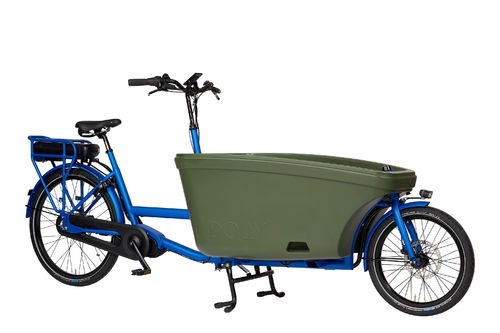 Komplett-Angebot E-Dolly Family Mittelmotor 2-Rad bakfiets Summer Blue - Made in Holland - Regendach