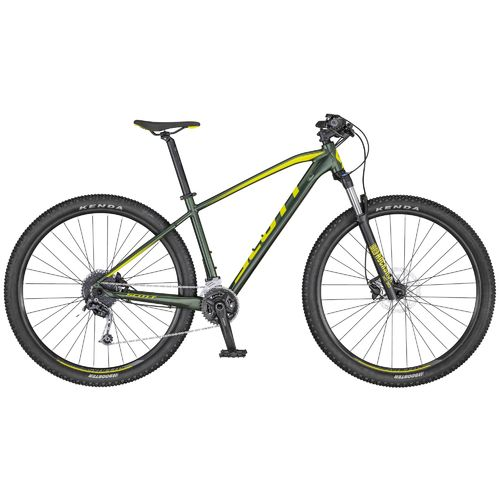 "Scott 27,5"" Aspect 730 2020 dark green - gelb 18 Gang Shimano Deore, Remote Lock-Out Gabel hydr disc"